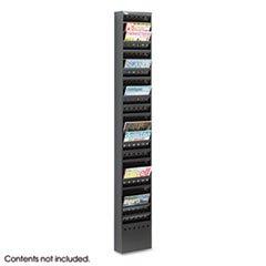 * Steel Magazine Rack, 23 Compartments, 10w x 4d x 65-1/2h, Black