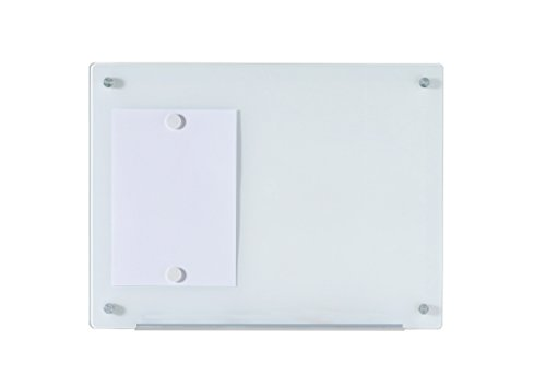 """Magnetic Glass Dry-Erase Board Set - 17 3/4"""" x 23 5/8"""" - Includes Board, 2 Magnets, and Aluminum Marker Tray"""