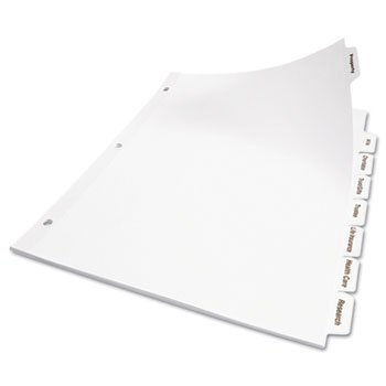 Clear Index Dividers 5 Tab - Avery 11556 Print & Apply Clear Label Dividers w/White Tabs, 5-Tab, Letter, 50 Sets