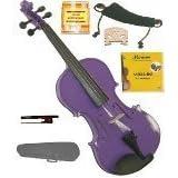 GRACE 1/8 Size Purple Acoustic Violin with Case and Bow+Rosin+2 Sets Strings+2 Bridges+Tuner+Shoulder Rest