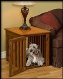 Amish Made Wood Dog Crate – Heavy Duty Wood Bars-Resistant Wooden Kennel End Table Large 34 x 23 x 24 inches – Oak