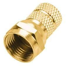 (Steren RG6 Twist-On F Connectors 2-Pack, Gold)