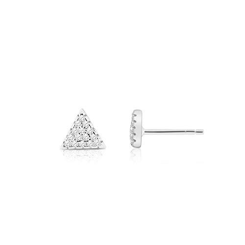 (DBSY Rhodium Plated Triangle Pyramid Earrings (Silver))