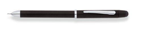 Cross Tech3+ Satin Black Multi-Function Pen with Chrome-Plated Appointments, Stylus, and 0.5mm Lead