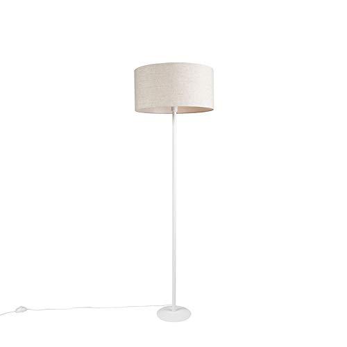 QAZQA Moderno Lámpara pie blanca pantalla pimienta 40cm - SIMPLO Metálica/Textil Alargada Adecuado para LED Max. 1 x 60 Watt