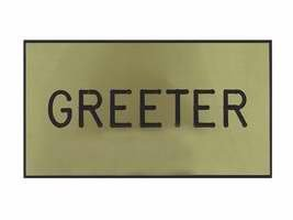 Engraved Badge Greeter Gold Magnetic (Greeter Badge)
