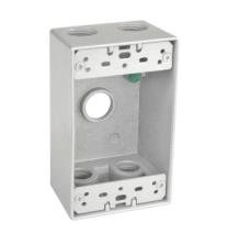 Sealproof 1-Gang 5 1/2'' Hole Weatherproof Rectangular Horizontal Electrical Outlet Box with 5 Outlet Holes, Five 1/2-Inch Holes, Single Gang, UL Listed