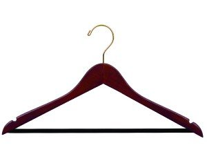 Wooden Suit Hanger w/Velvet Bar, Walnut Finish with Brass Hardware, Box of 100 by The Great American Hanger Company by The Great American Hanger Company
