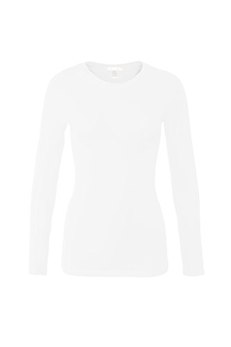 Bozzolo Women's RT1200 Basic Round Neck Long Sleeve T Shirt Top White L -