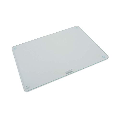 (Joseph Joseph 90124 Worktop Saver Glass Cutting Board and Serving Board Heat Resistant, 11.8-in x 15.8-in, Clear)