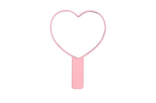 XIAOSHIGUANGGAO Cute Heart Shaped Hand Mirror - Pink Cute Hearts