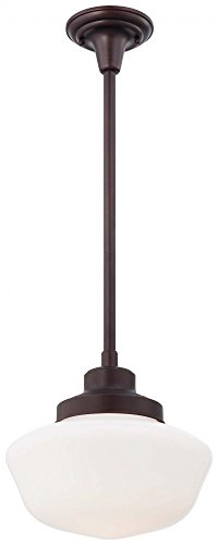 (Minka Lavery 2254-576 1-Light Schoolhouse Pendant, Brushed Bronze Finish)