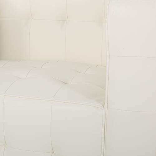 Laura Modern Glam Leather Cube Club Chair, White and Chrome - 6