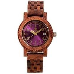 Tense M5200R Mini Yukon Men's Wood Case and Bracelet Pink Dial African Rosewood Watch