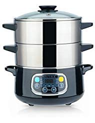Steamer Double - Secura Electric Food Steamer, Vegetable Steamer Double Tiered Stackable Baskets with Timer, 1200W Fast Heating Stainless Steel Digital Steamer 8.5 Quart