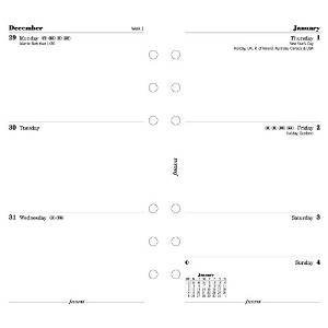 Filofax Week To View Refill For 2016 Yearly Calendar, White