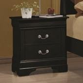 Coaster Louis Philippe Two Drawer Nightstand in Black - Home Furnishings
