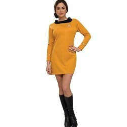 Deluxe Classic Star Strek Dress Uniform Adult Costume Gold - (Uhura Tos Costume)
