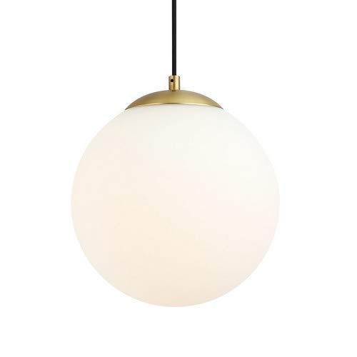 (Light Society Zeno Globe Pendant, Matte White with Brass Finish, Contemporary Mid Century Modern Style Lighting Fixture (LS-C175-BRS-MLK))