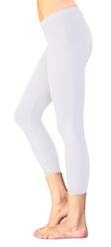 HUE So Low Jersey Crop Leggings (Small, White) ()