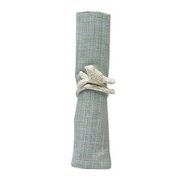 Songbird Bird on Tree Branch Metal Napkin Rings Set of 4