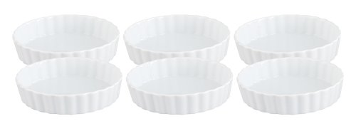 HIC Round Creme Brulee, Fine White Porcelain, 5 x 1-Inch, Set of 6 Microwave Creme Brulee