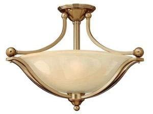 Hinkley 4669BR, Bolla Round Glass Semi Flush Ceiling Lighting, 3 Light, 300 Total Watts, Bronze