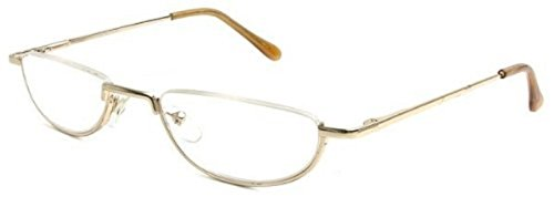 The Lynwood Unisex Half Moon Half Frame Reading Glasses, Round Readers for Men and Women +3.50 Gold (Carrying Case - Half Glasses Rimmed For Womens