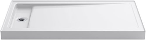 Pans Shower Kohler (KOHLER K-9165-0 Bellwether 60-Inch X 32-Inch Single-Threshold Shower Base with Left Offset Drain, White)