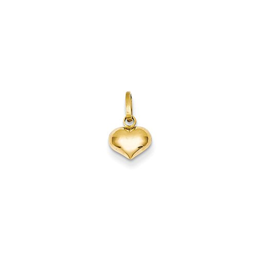 (JewelrySuperMart Collection 14k Gold Hollow Puffed Small Heart Pendant Charm - (Yellow Gold, 0.50 Inch Height))
