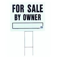 "Hy-Ko Products LFS-1 For Sale by Owner Corrugated Plastic Sign w/ H Bracket 19"" x 24"" Black/White, 1 Piece"
