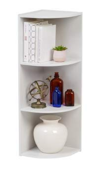 IRIS USA 596326 Corner Curved 3Tier Shelf Organizer White