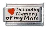 In Loving Memory of My Mom Enamel Red Heart Laser Italian Charm