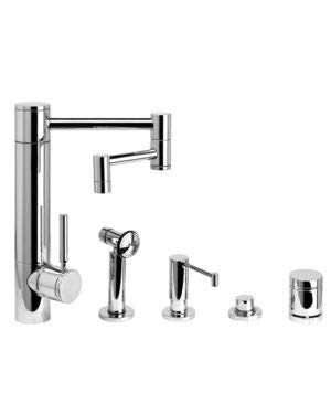 Brass 4pn Polished (Waterstone 3600-12-4-PN Hunley Kitchen Faucet - 12