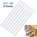 DeElf 8 Pack Small Tension Rods 15.7 in to 28 in Spring Extendable Bars for Kitchen Cupboard Utensils, Closet, and Cabinet, White
