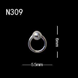 10Pcs/Lot Popular Design Nail Art Cool Ox Nose Punk Style Ring Studs Rivet Personality Decoration 10pcs N309 -