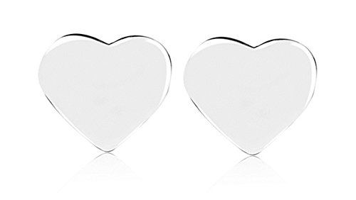 Beaute Fashion Trendy Mini .925 Solid Sterling Silver Pair of Stud Earrings - Gift Boxed (Heart)