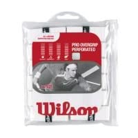 Paquete de 12 perforadas con sobregrip Wilson Pro - Blanco - Tenis - Bádminton - Squash