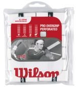Overwrap Grip (Wilson Pro Overgrip Perforated 12 Pack - White - Tennis - Badminton - Squash)
