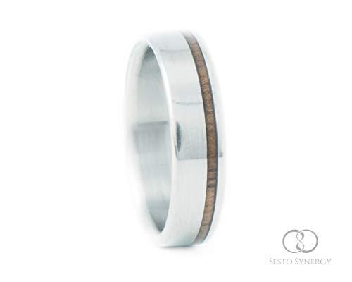Titanium Ring with Off-Center Walnut Wood Inlay. 5 mm. ()