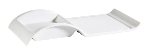 CAC China PLT-10 Accessories 10-Inch by 5-Inch by 1-1/2-Inch 12-Ounce New Bone White Porcelain Rectangular Platter with Square Holder, Box of 12 by CAC China