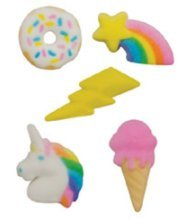 "Price comparison product image 24pk Rainbow Unicorn IceCream Donut Party 1"" - 1 1 / 2"" Edible Sugar Decoration Toppers for Cakes Cupcakes Cake Pops w. Edible Sparkle Flakes & Decorating Stickers"