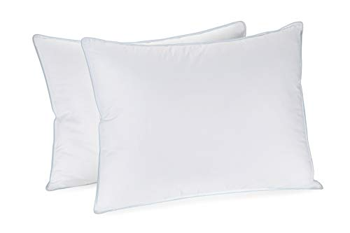 Set of 2 Queen Sized Pillows - Hypoallergenic decrease non-obligatory Pillows w/ 100% Cotton Dust & Mite resistant Cover w/ Extra Fine Fiber/Poly Filling Black Friday & Cyber Monday 2018