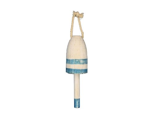 Hampton Nautical  Wooden Vintage Light Blue Lobster Trap Buoy, 7