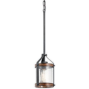 Kichler Lighting Barrington Distressed Black and Wood Rustic Mini Seeded Glass Cylinder Pendant from KICHLER