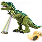 TEMI Electronic Walking Dinosaur Toys for Kids Boys Girls, Battery Powered Jurassic Green Tyrannosaurus Rex Model T-Rex Dragon with Sounds and Projection Lights, Real Movement, Laying Eggs