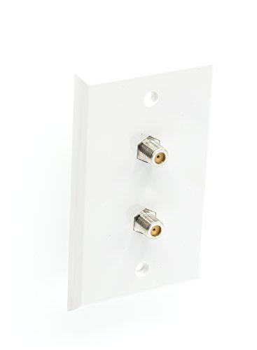 F-type Tv (White Video Wall Jack for Twin (Dual Coax Cable) F Type Coaxial Wallplate (Wall Plate) – TWo 3 GHz Couplers approved for Comcast, DIRECTV, Dish Network, and Antennas (4 Pack))