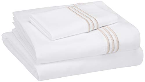 (AmazonBasics Embroidered Hotel Stitch Sheet Set - Premium, Soft, Easy-Wash Microfiber - Twin, Embroidered)