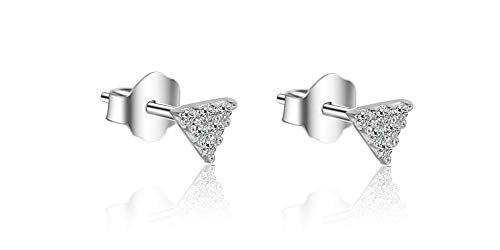 925 Sterling Silver Teeny Tiny Triangle Stud Earrings for Women Cubic Zirconia Paved (3.5)