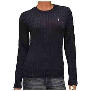 a711c4292 Navy Cable Knit Crew Neck Jumper by Polo Ralph Lauren womens uk size  medium  Amazon.co.uk  Clothing